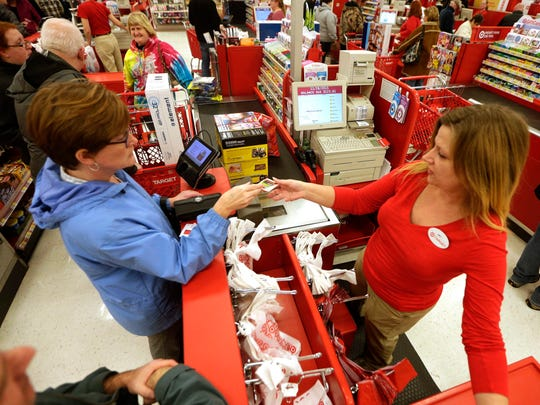 Shoppers line at the counter of a Target store in Queensbury, New York