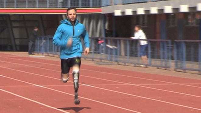 Oscar Pistorius runs at the University of Pretoria, South Africa, on June 27.