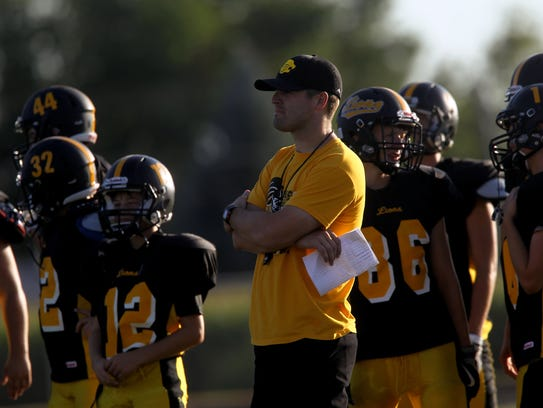 Lone Tree head coach Aaron Bohr watches players during