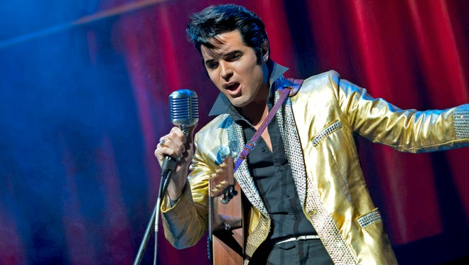"""Elvis Presley tribute artist Dean Z performs as the 1950s-era """"King of Rock 'n' Roll"""" in the show """"Elvis Lives."""" The show comes to the Plaza Theatre on Sunday."""