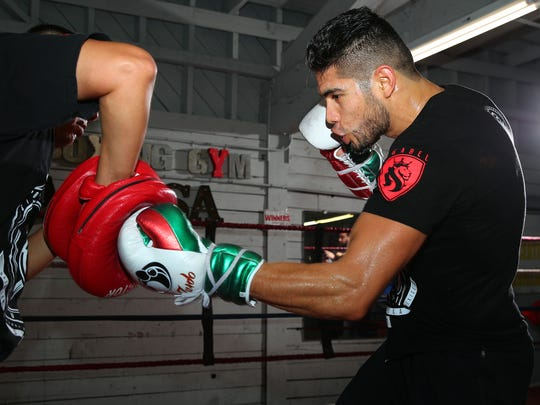 Gilberto Ramirez goes through a workout in Los Angeles in preparation for next month's Super Middleweight bout against Habib Ahmed at the American Bank Center.