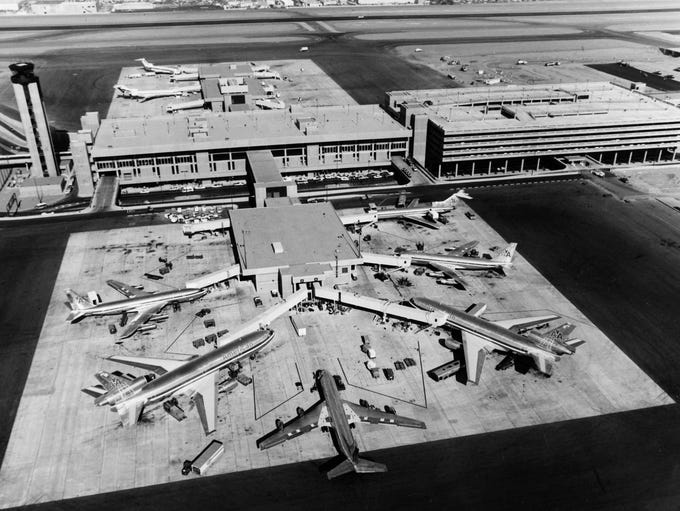 Terminal 3 in operation at Sky Harbor Airport in Phoenix,