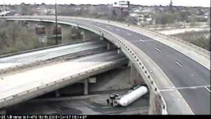 An overturned tractor-trailer at Tuesday 4:35p.m.
