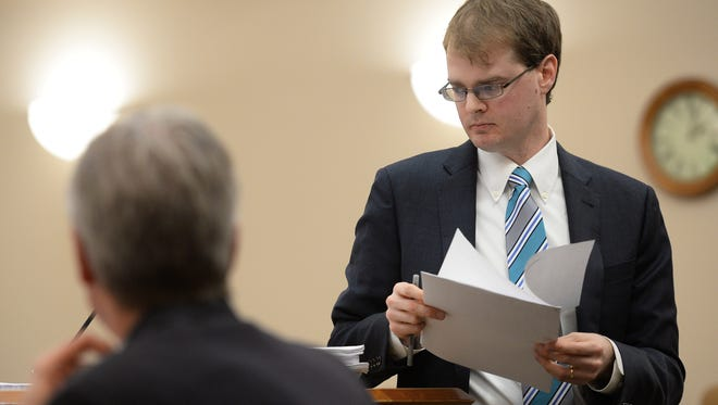 Thomas Isler of Kutak Rock represents Poudre School District in Judge Thomas French's courtroom at Larimer County Justice Center on Tuesday, January 10, 2016. Eric Sutherland and PSD went to court for a trial over whether or not Sutherland was denied due process when his pre-election lawsuit was thrown out when he failed to pay a requested $8,000 surety bond. Sutherland lost.