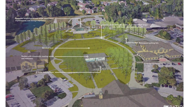 Artist's rendering of proposed reconstruction of Fishers' Nickel Plate amphitheater and green