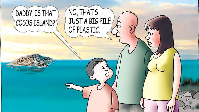 Sunday cartoon on plastic pollution for 04/22/18