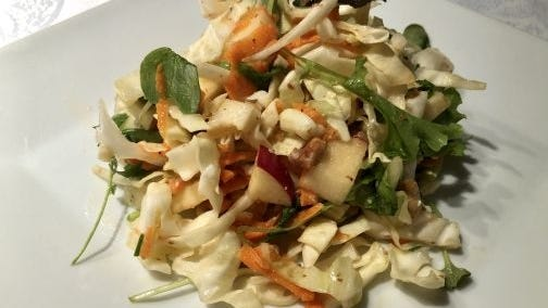 This apple cabbage salad is fancy enough to be on your holiday table on Thanksgiving.
