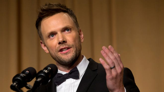 Actor and comedian Joel McHale makes jokes at the centennial dinner of the White House Correspondents' Association dinner at the Washington Hilton Hotel on May 3.