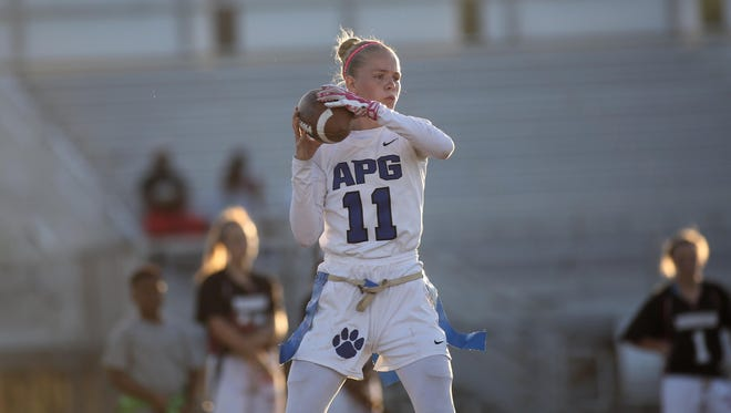 Godby senior Shelby Hartley is the 2016 All-Big Bend Player of the Year for flag football after throwing for 49 touchdowns as the Cougars' quarterback and leading the team to the Class 1A state semifinals.