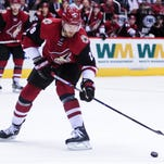 Arizona Coyotes defenseman Jarred Tinordi shoots the puck during the second period against the Montreal Canadiens on Feb. 15, 2016.