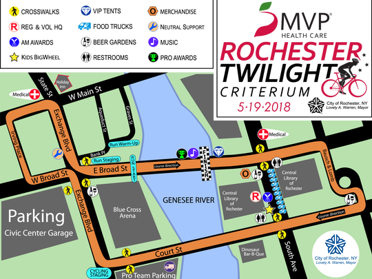 The course of the 2018 MVP Health Rochester Twilight Criterium features a one-mile loop with nine turns through downtown Rochester.