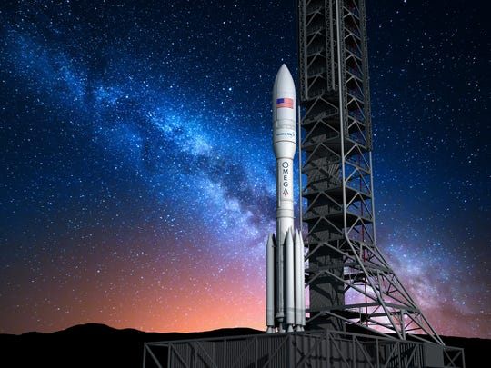 A rendering of Orbital ATK's OmegA rocket, formerly known as the Next Generation Launch system, or NGL.