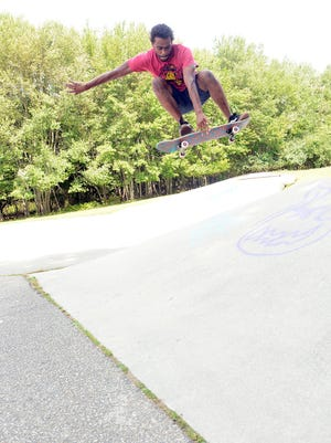 Skateboarder Giovanni Mitchell, 29, of Norwich is concerned about the cracks in the pavement at the Donald Alfiero Skatepark in Norwich.