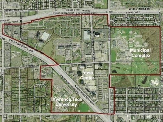 southfield-city-centre-aerial-map