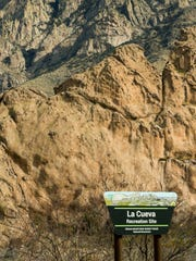 Pictured is the entrance to the La Cueva Recreation Site where volunteers have gathered for MLK Trail Maintenance Day on Monday, January 15, 2018. The event was created by The Bureau of Land Management,  Friends of the Organ Mountains-Desert Peaks and the Southern New Mexico Trail Alliance.