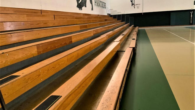 Liberty Point International School's antiquated gym bleachers would be replaced with modern and safe equipment, with a new wood floor installed in the gym.