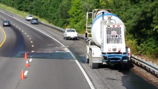 A fuel tank leak on I-40 Monday.