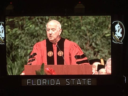FSU baseball coach Mike Martin was the featured speaker at the Seminoles' summer commencement ceremony Saturday at the Tucker Civic Center.