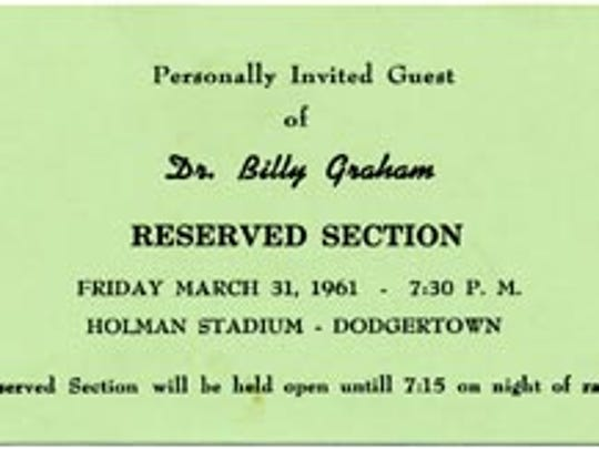 A ticket to the Billy Graham Crusade in Vero Beach.