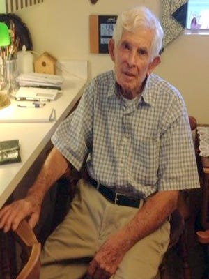 """Jack Holmes, 88, recalls his working days as a """"gopher' at the U.S. Army Air Field back in 1943-45."""