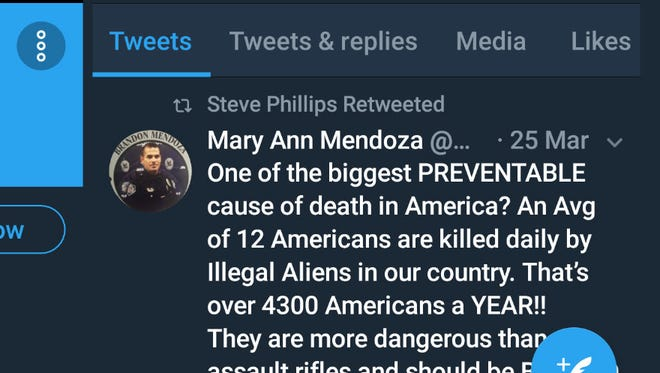 Screenshot of the Twitter account of Deputy Superintendent Steve Phillips retweeted an anti-undocumented immigrant tweet.