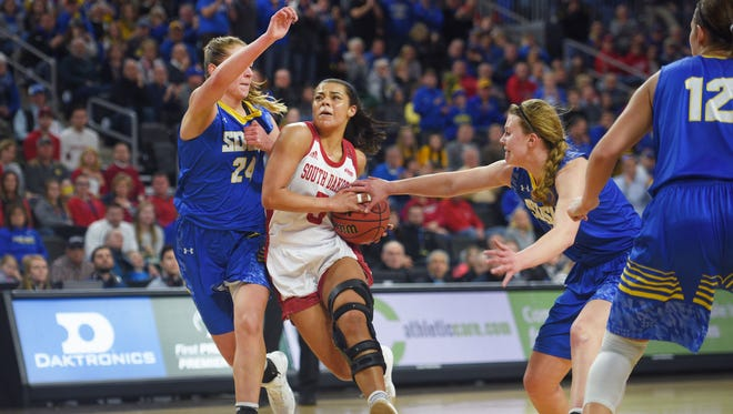 USD's Jasmine Trimboli goes against SDSU's Tagyn Larson in the game Tuesday, March 6, during the Summit League basketball tournament at the Denny Sanford Premier Center in Sioux Falls.