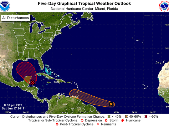 The five-day tropical outlook for the Atlantic basin