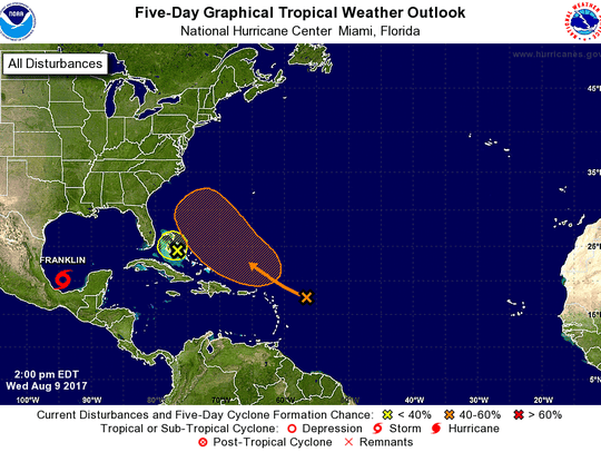 Five-day tropical weather outlook at 2 p.m. Wednesday,