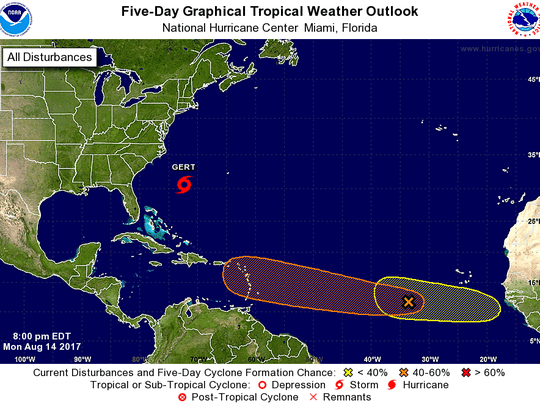 Tropical outlook in Atlantic as of 8 p.m. Monday, Aug.