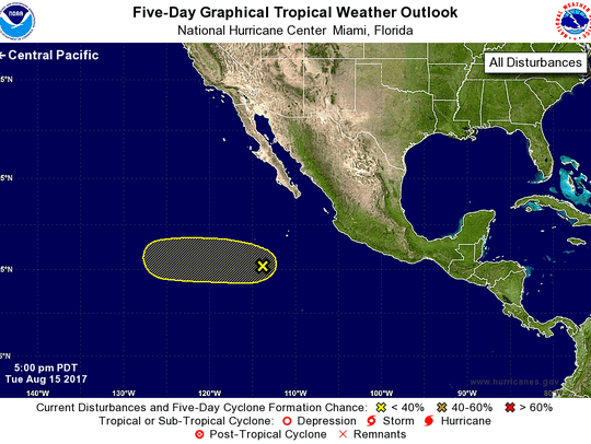Tropical weather outlook in the Pacific at 8 p.m. Tuesday,