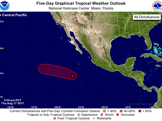 Tropical weather outlook in the Pacific as of 8 p.m. Thursday, Aug. 17, 2017.