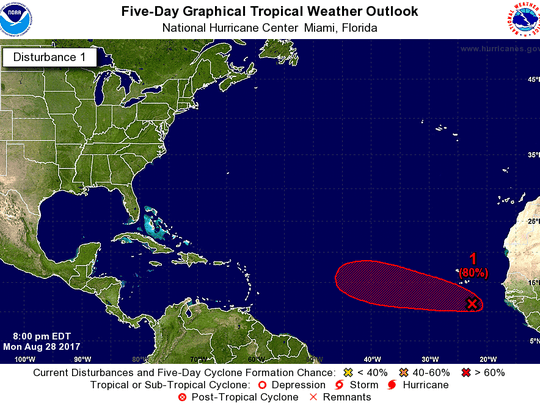 A tropical wave off the coast of Africa has an 80 percent