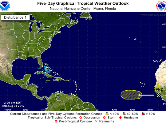 A tropical wave formed off Africa's west coast Thursday, Aug. 31, 2017