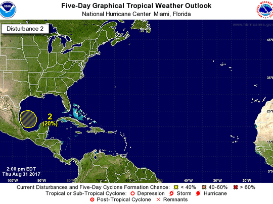 Tropical activity in the Gulf of Mexico at 2 p.m. Thursday, Aug. 31, 2017.