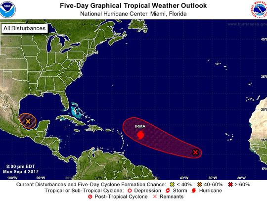 A look at the tropics at 8 p.m. Monday, Sept. 4, 2017.