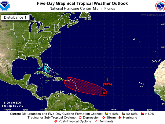 A tropical wave is forming in the Atlantic as of 8 p.m. Friday, Sept. 15, 2017.
