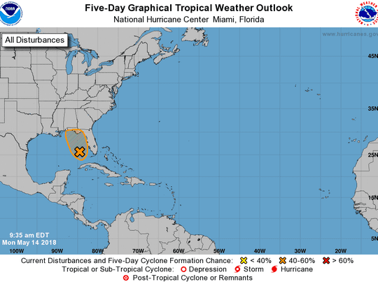 Advisory from National Hurricane Center May 14, 2018.