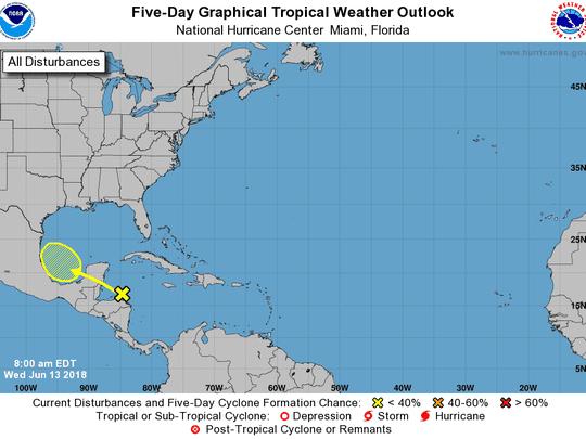 Tropics 8 a.m. June 13, 2018.