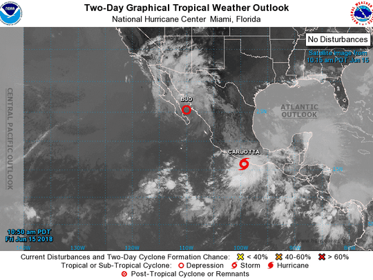 Tropical Storm Carlotta forms south of Mexico. Heavy