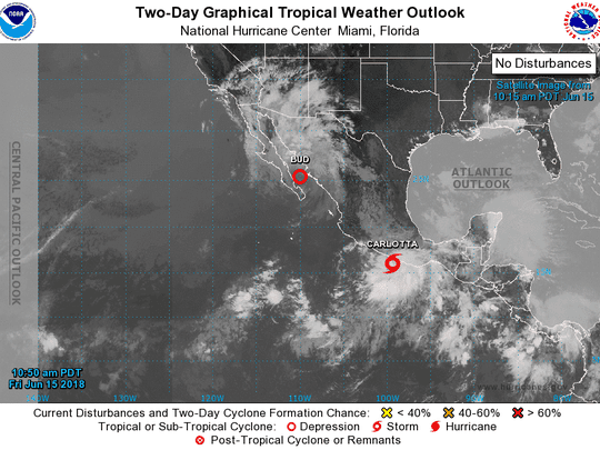 Tropical Storm Carlotta forms south of Mexico. Heavy rain is the main threat from the storm.