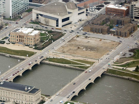 An aerial view of the former YMCA site March 30, 2016