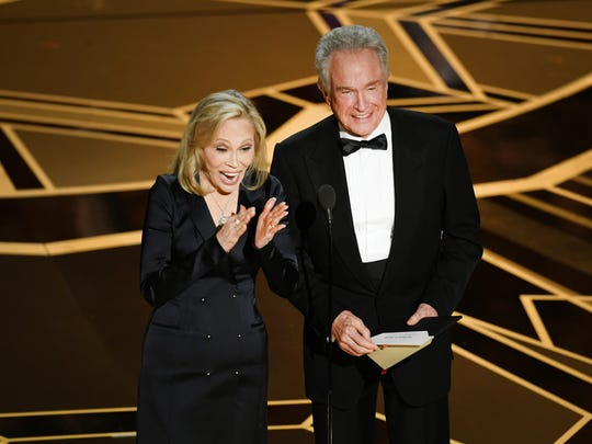 Second time is a charm: Faye Dunaway and Warren Beatty present Oscar for best picture at the 90th Annual Academy Awards March 4, 2018, in Hollywood.