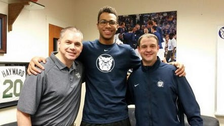 Jackson Davis poses with Butler assistant Chris Holtmann (left) and head coach Brandon Miller during his visit earlier this month. Davis chose Butler on Friday.