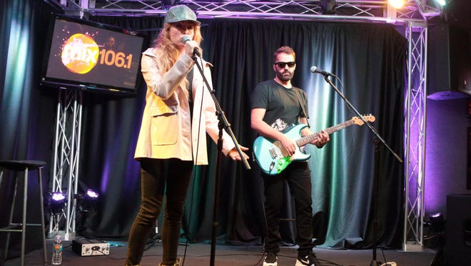 Katie White, left, and Jules De Martino of The Ting Tings visit the Mix 106 Performance Theater on Friday, April 10.