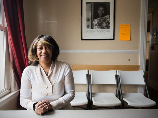 Sherry Woodberry sits inside the Pathways Homeless