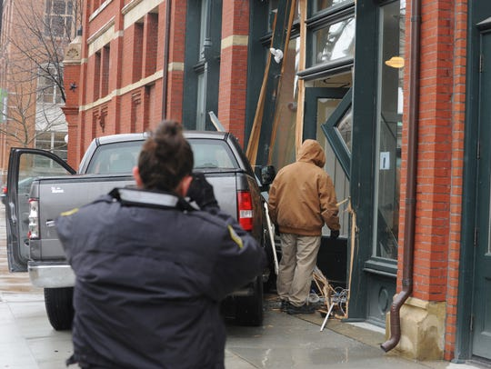 A truck crashed into the Carlisle building Thursday