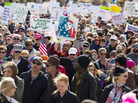 Thousands rally during an equal rights march at the