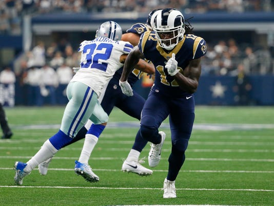 FILE - In this Oct. 1, 2017, file photo, Los Angeles Rams wide receiver Sammy Watkins (12) runs a route during an NFL football game against the Dallas Cowboys in Arlington, Texas. Watkins is hoping to fill a bigger role on the Rams' offense going forward after catching just 14 passes in their first five games. The new receiver expressed his frustrations with his role on social media after going without a catch in Los Angeles' loss to Seattle last weekend. (AP Photo/Roger Steinman, File)