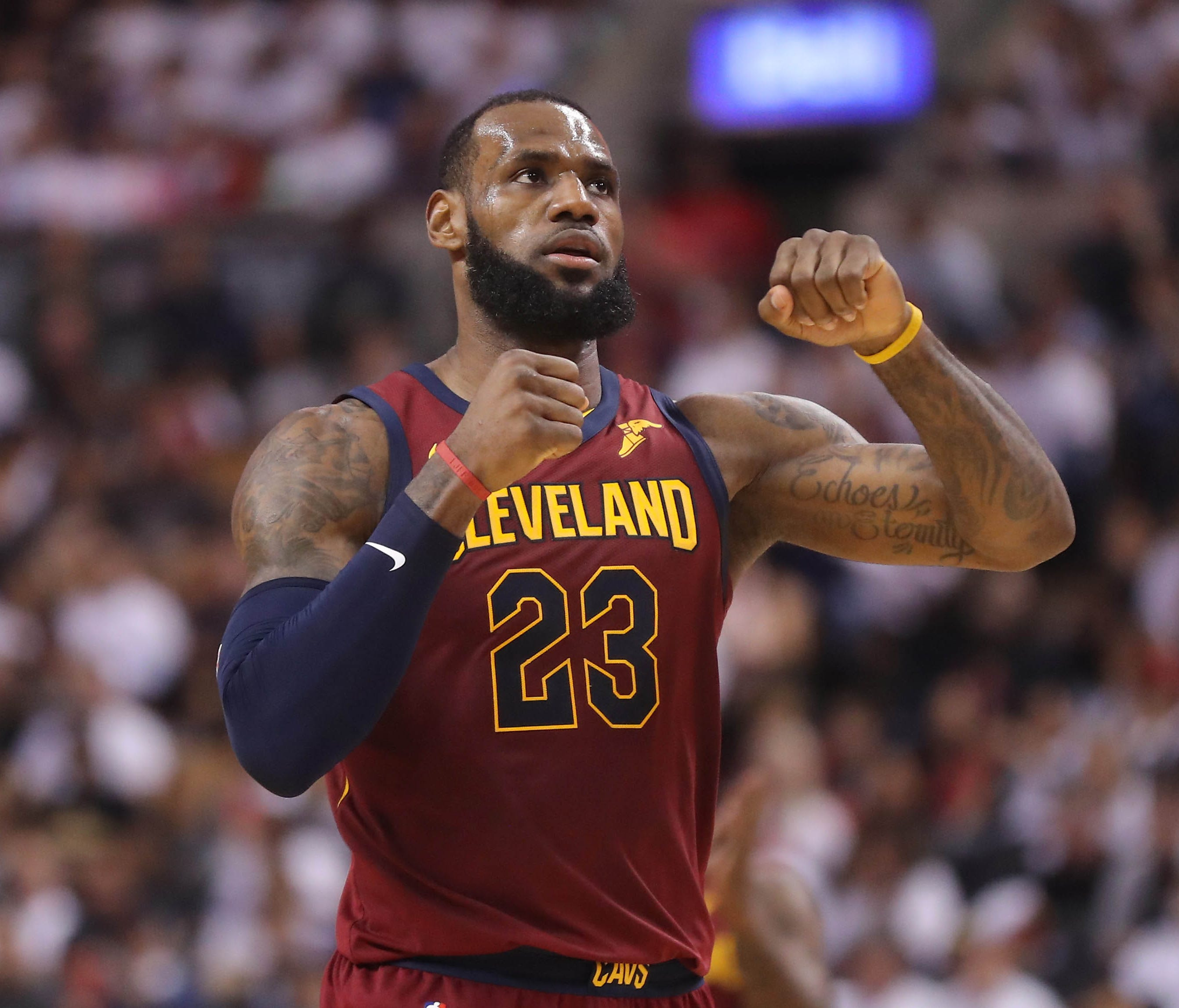 Cleveland Cavaliers forward LeBron James (23) celebrates after making a basket against the Toronto Raptors in game two of the second round of the 2018 NBA Playoffs at Air Canada Centre.