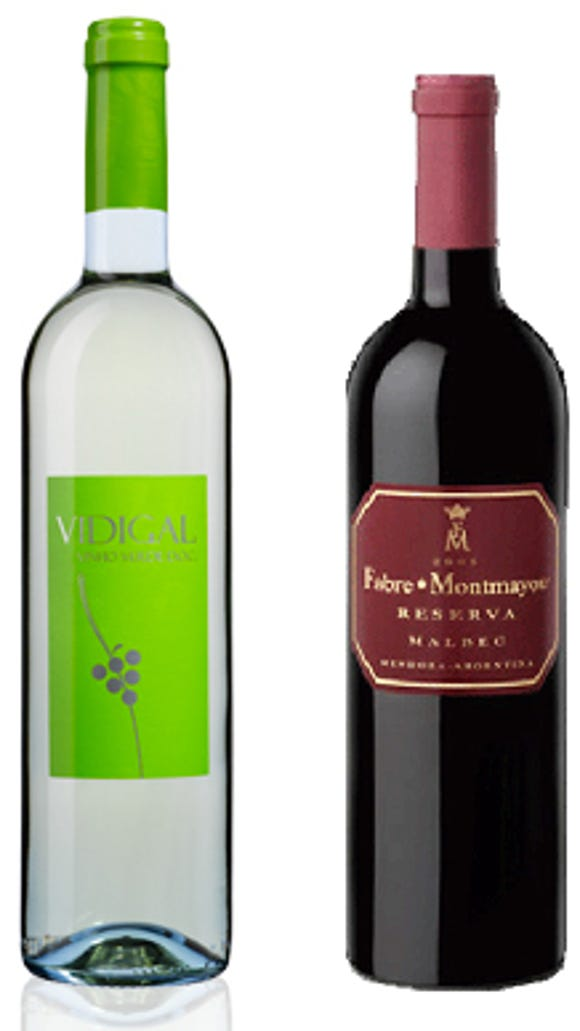 Vidigal Vinho Verde (left) and a Fabre Montmayou Malbec Reserva are both wines under $20 worth trying.